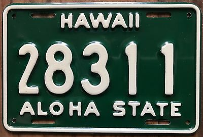 1961 Green Hawaii Aloha State Authentic Motorcycle License Plate Mint #28311