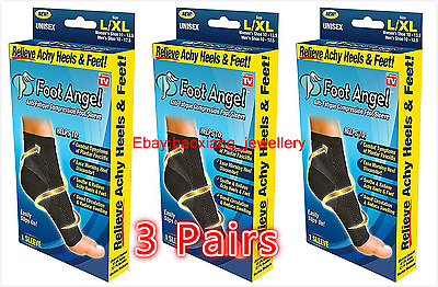 Foot Angel Anti Fatigue Compression 3 Pairs Ankle Swelling Plantar Relief S-XL