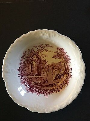 "Vintage 1940s Taylor & Smith English Abbey Red Transferware 6 1/8"""" Dessert Bowl"