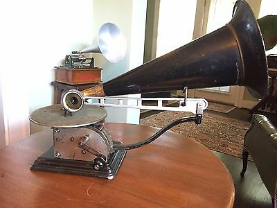Antique c. 1905 Standard Talking Machine Model AA Open Works Disc Phonograph