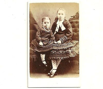 Antique CDV Photo Beautiful Little Girls Galt Ontario Carte De Visite Photograph