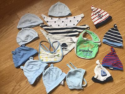 Baby boy bundle hats and bibs 0-6 month
