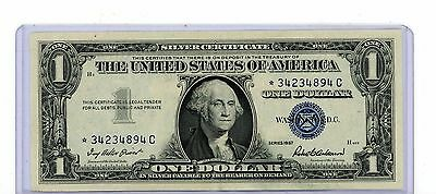 1957 STAR $1 DOLLAR Blue Seal USA SILVER CERTIFICATE Paper Money Note Bill 894C