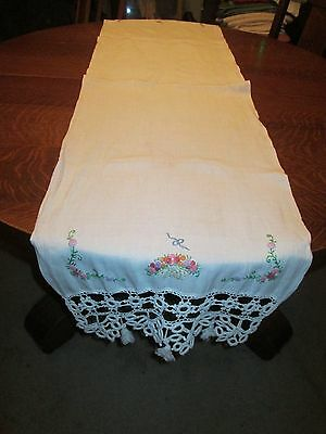 """Vintage Off White Hand Embroidered & Crocheted Table Runner/66 x 17"""""""
