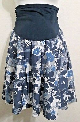 A Pea in the Pod~floral print  flared skirt~multi-color blue white~size large
