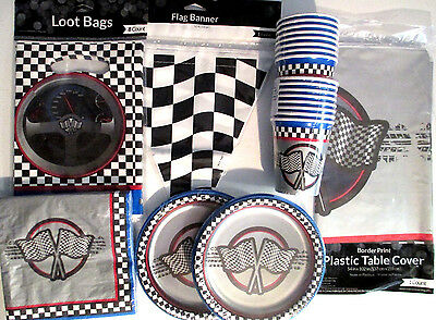 RACING - Birthday Party Supplies Set Pack DELUXE KIT w/Banner & loot Bags !!