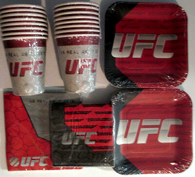 UFC Ultimate Fighting Birthday Party Supply Pack Kit w/Plates, 32 Napkins & Cups