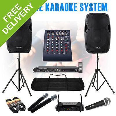 Complete Karaoke System Speakers Mixer DVD CD+G Player Mics Stands Party Pack