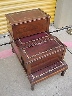 "Antique 30"" Wood & Leather Step Stool Pull Out Bedside Commode Chamber Pot Potty"