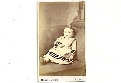 Antique CDV Photo Little Girl In Pretty Dress Paris Ontario Vintage Photograph