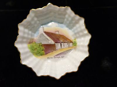 Shelley England nut/pin trinket dish basket weave design Burns Cottage, Ayr