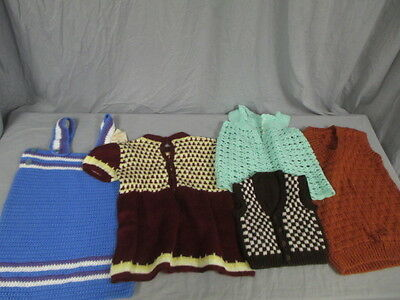 Lot of 4 Unbranded Homemade Handknit Children's Clothing, and Creative HandsVest