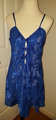 FREDERICKS OF HOLLYWOOD blue sheer poly floral brocade CHEMISE LINGERIE sz L
