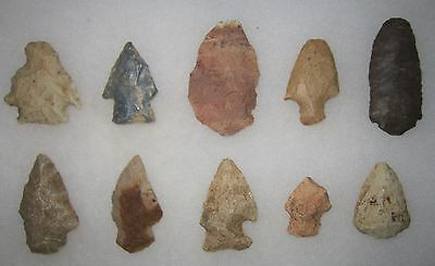 Missouri Authentic Artifacts 10 Arrowheads Knives Stoddard County Nice Points