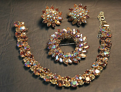 Gustave Sherman Signed Vtg.Bracelet, Brooch & Earrings Parure Set  Rhinestones