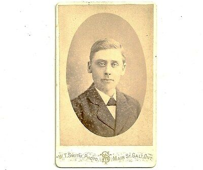 Antique CDV Photo Young Man With Fair Hair Galt Ontario Vintage Photograph