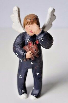 Vintage hand Carved Wood Boy with puppy Angel Wings Christmas
