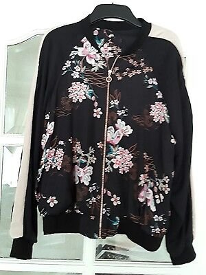 size 14 black oriental print bomber jacket with rose gold zip