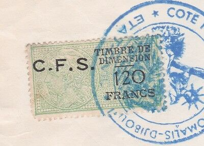 Somalia France 1957 Birth Certificate Frk. C.f.s 120 Francs Revenue Stamp
