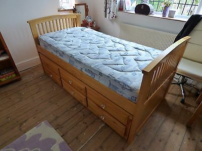 Pine Cabin Bed Frame With Guest Bed & 3 Drawer Storage Unit