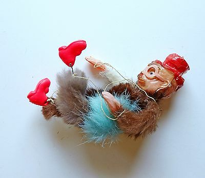 Vintage Celluoid MONKEY Puppet CARNIVAL PRIZE Toy with Fur