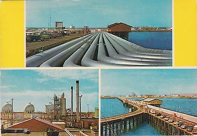 Kuwait 1961 Postcard The Oil Pipes And Factory