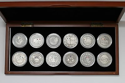 Belarus 2009 20 Rubles Zodiac Signs - 28.28g Silver 12 Coin Set w/Display Box