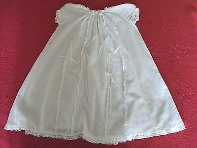 Vintage Baby Christening Gown..Lawn Cotton Lace Trimmed with Ribbons.