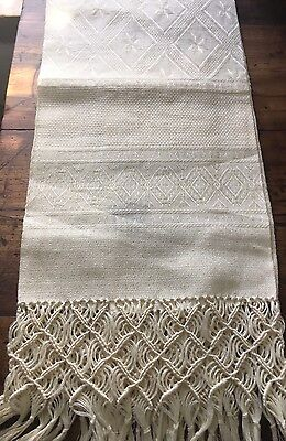 Anichini Woven Linen Towel With Braided Fringe