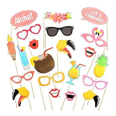 21pc Hawaiian Beach Pool Party Luau Tropical Selfie Photo Booth Props on Sticks