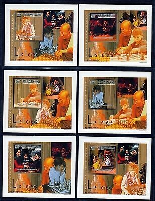 Guinea 2010 History Of Chess 6 Imperf S/sheets. Limited Edition, Glossy Cardboar