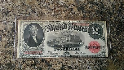 1917 $2 Large Red Seal Us Currency Note