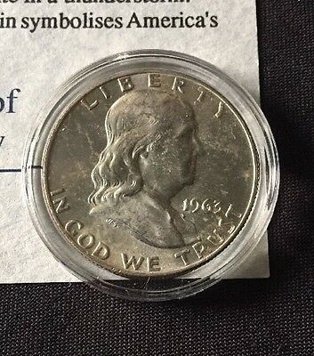 United States Franklin Half Dollar 1963 With COA