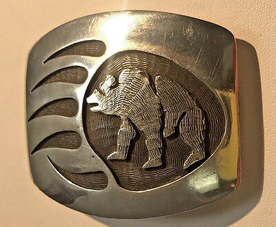 Riley Polequqptewea Sterling Silver Hopi Bear claw Belt Buckle