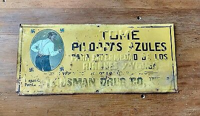 Antique 1880s Trinidad Colorado Hausman Drug Company Tin Litho Sign Advertising