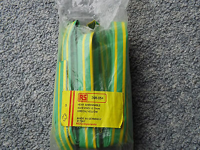 Heat shrink sleeving 12.7 mm green yellow 2:1 new old stock see details
