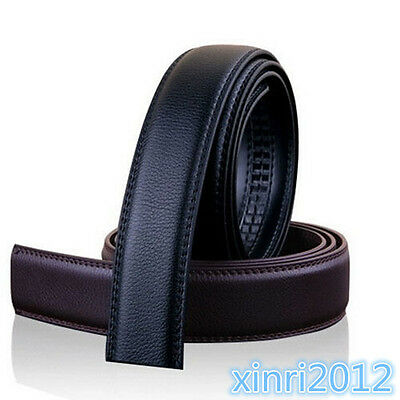 Fashion Mens Black Leather Automatic Strap Belt Without Buckle Waist Strap