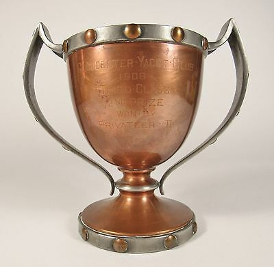 Antique 1909 GLOUCESTER YACHT CLUB Arts & Crafts Sailing Loving Cup Trophy