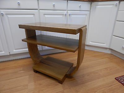 Art Deco 30's  accent end table occasional side mid century wood Brown Saltman