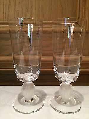 "Lalique France  - Langeais 6-3/8"" Champagne Flutes, Set Of Two (2), Exc. Cond."