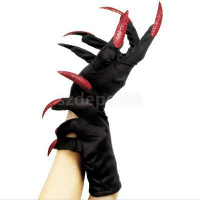 Scary Women Lady Devil Gloves with Red Glitter Nails Halloween Party Costume