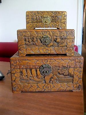Set Of 3 Antique Hand Carved Camphor Wood Chests With Ships-Boxes