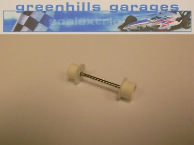 Greenhills Micro Scalextric Front Axle & Wheels White Used – P2883 ##x