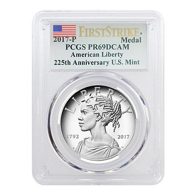 2017 P 1 oz American Liberty High Relief Proof Silver Medal PCGS PF 69 First Str