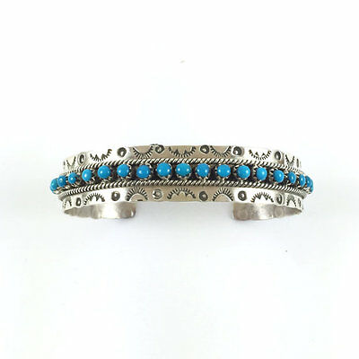 Handmade Native American Zuni Sterling Silver Turquoise Dotted Cuff Bracelet