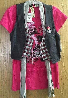Three Piece Set of Pink Tshirt Gray Vest and Striped Scarf Juniors Size L