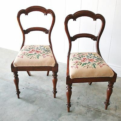 ANTIQUE Pair of Balloon Back Chairs Crown Back c1870 Needlepoint Seats Victorian