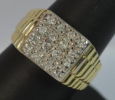 Mens Bling Watch Strap Design Diamond 9ct Gold Signet Ring D0836