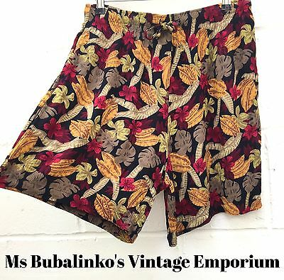 Vintage 90s Rustic Floral High Waist Wide Leg Culottes Shorts Size 16 18 Ibiza