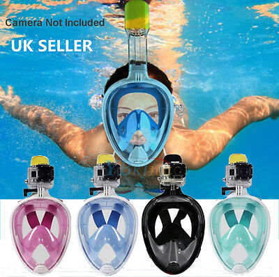 Full Face Mask Snorkeling Scuba Watersport Diving Swim Snorkel Breath For GoPro#